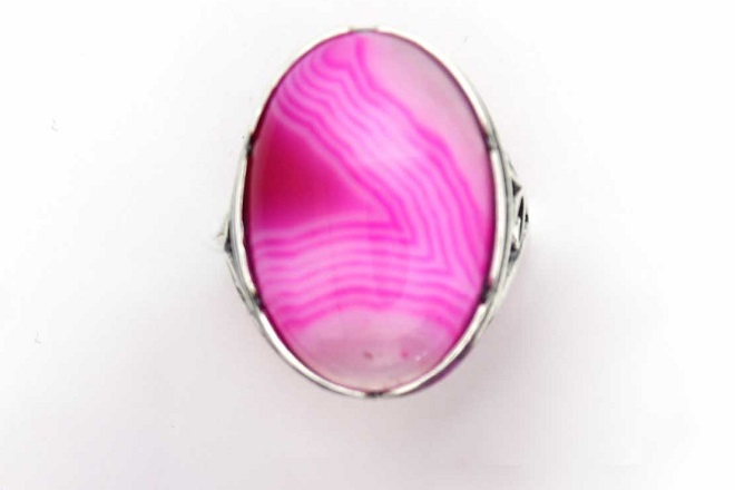 Кольцо из розового агата