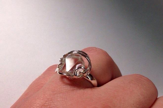 Кольцо из херкимерского алмаза