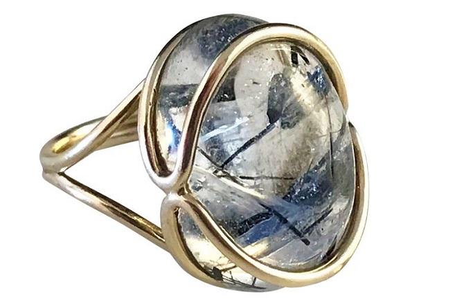 скандинавское кольцо с рутиловым кварцем 389 долларов 14 каратов