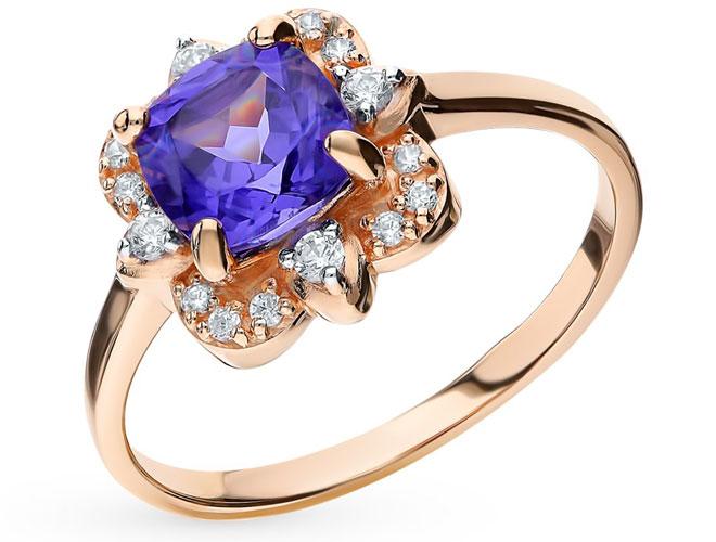 Золотое кольцо с ситаллом