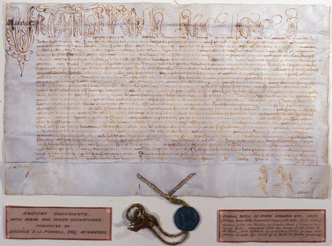 Папская булла 1637 года со свинцовой печатью